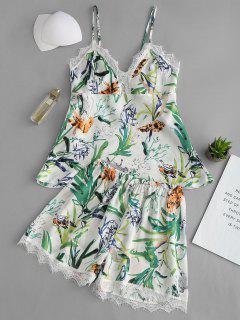 Conjunto De Pijamas Estampados Con Ribete De Encaje Satinado - Multicolor M
