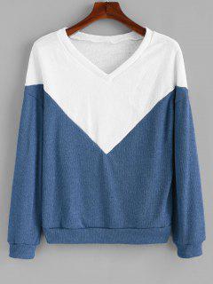 Pull Bicolore Tricoté à Goutte Epaule - Bleu De Soie L