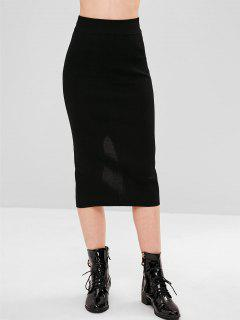 Knit Slit Pencil Skirt - Black