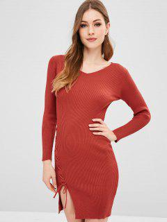 Long Sleeve Lace Up Slit Sweater Dress - Chestnut Red
