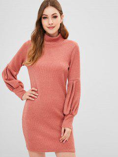 Lantern Sleeves Plain Sweater Dress - Orange Pink M