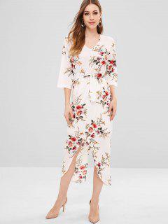 Vestido Con Cinturón Con Estampado Floral En La Espalda - Blanco Xl