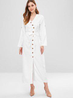 Vestido Largo Abotonado - Blanco L