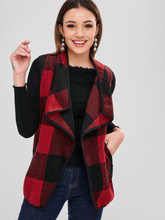 Plaid Turndown Collar Waistcoat - Multi Xl
