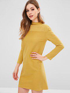Long Sleeve Slit Casual Dress - Golden Brown 2xl