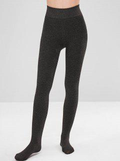 Velvet Fleece Lined Tights Leggings - Carbon Gray