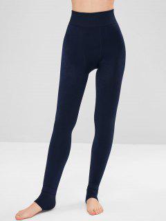 High Waist Fleece Stirrup Leggings - Dark Slate Blue