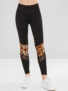 Leopard Mesh Paneled Tights Leggings - Black Xl