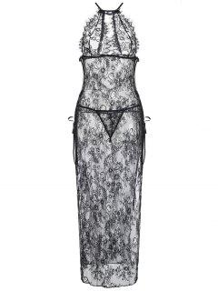 High Slit Lace Sheer Maxi Lingerie Dress - Black