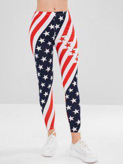 Mixed Stripe Star Print Leggings - Multi