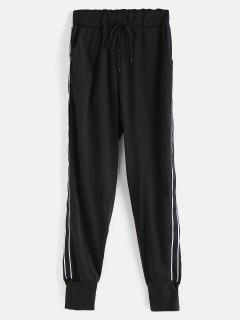Stripe Patch Drawstring Pants - Black Xl