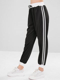 Side Tape High Waisted Joggers Pants - Black M