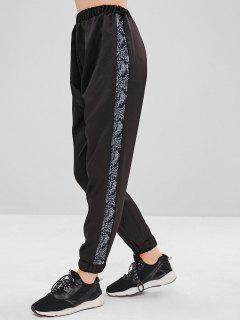 Snakeskin Insert Jogger Pants - Black M