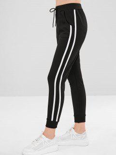 Side Pockets Tapes Joggers Pants - Black M