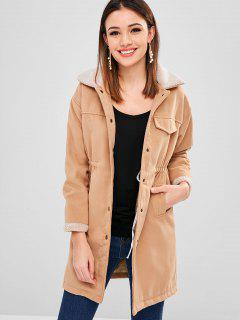 Faux Wool Borg Collar Winter Coat - Camel Brown Xl