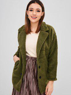 Letter Embroidered Fluffy Longline Coat - Camouflage Green