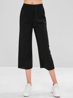 Pantalones Capri Rectos De Color Liso - Negro