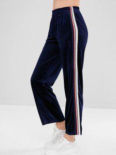 Pantalon Rayé à Jambe Large Avec Poches Latérales En Velours - Bleu Profond Xl