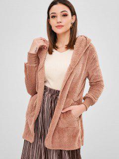 Manteau à Capuche Ouvert En Avant En Laine - Orange Rose Xl