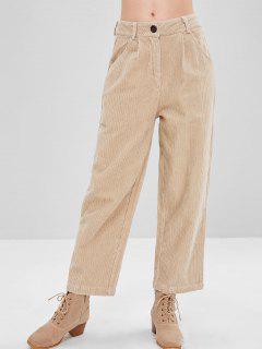 Pantalon Jambe Large à Taille Haute En Velours Côtelé - Beige Xl