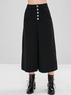 Pantalones De Culotte De Cintura Alta - Negro M