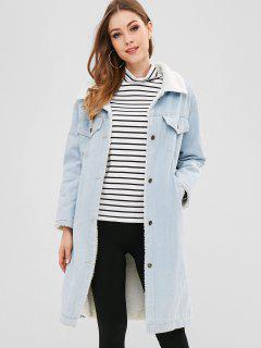 Denim Button Up Sheepskin Coat - Jeans Blue L