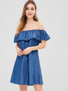 Robe Courte à Epaule Dénudée à Volants - Bleu Toile De Jean L