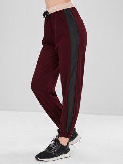 Casual Color Block Jogger Pants - Red Wine L