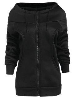 Manteau à Capuche Zippé à Doublure En Laine - Noir 2xl