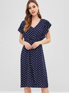 V Neck Polka Dot Slit Dress - Midnight Blue Xl