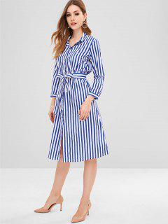 Belted Striped Button Up Shirt Dress - Cobalt Blue S