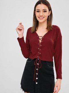 Lace-up Plunge Knit Tee - Red Wine M