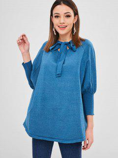 Raglan Sleeve Bow Tie Oversized Sweater - Blue Ivy
