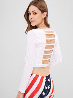 Ladder Cut Out Back Crop Tee - White
