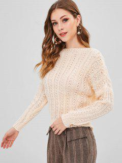 Loose Knit Slash Neck Beaded Sweater - Apricot