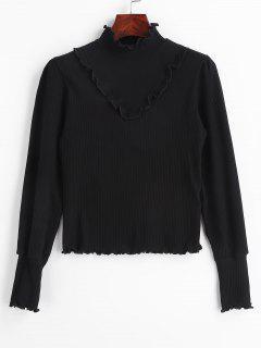 Lettuce Ruffles Ribbed Knitwear - Black M