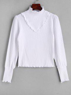 Lechuga Ruffles Ribbed Knitwear - Blanco S