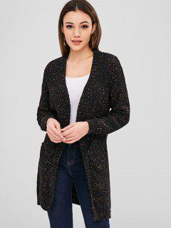 Open Front Heathered Cardigan - Black