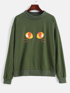 Drop Shoulder Graphic Front Pullover Sweatshirt - Army Green Xl