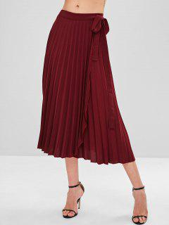 Pleated Wrap Tie Waist  Midi Skirt - Red Wine