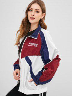 Color Block Embroidered Windbreaker Jacket - Multi M