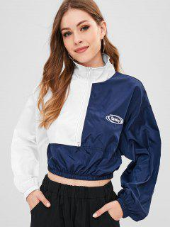 Half Zip Colorblock Graphic Cropped Jacket - Multi-a