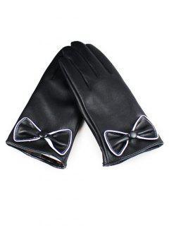 Winter Bowknot Full Finger Touchscreen Gloves - Black