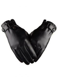 Windproof PU Leather Touchscreen Gloves - Black Xl