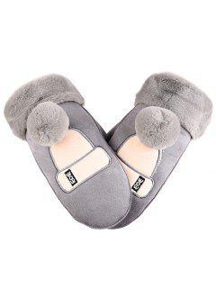 Winter Cute Hat Suede Mitten Gloves - Gray Cloud