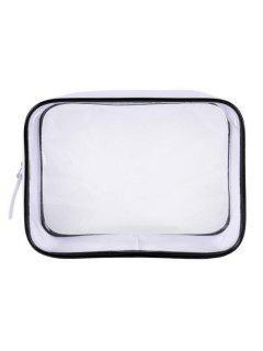 Cosmetic Transparent Zipper Large Capacity Cosmetic Bag - Transparent