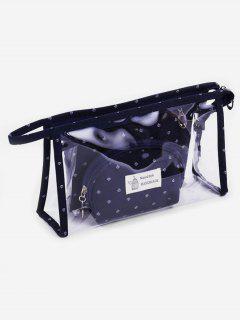 Multifunctional 3 Pcs Transparent PVC Cosmetic Bag Set - Cadetblue