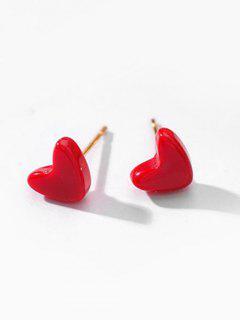 Heart Shape Stud Earrings - Red