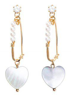 Beaded Artificial Pearl And Crystal Heart Earrings - White
