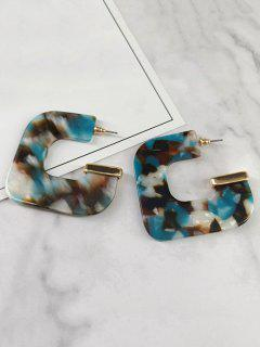 Geometric Leopard Printed Earrings - Light Sea Green